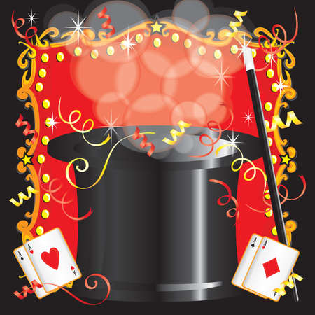 Magician s magic act birthday party invitation with magic wand, cards and red marquee