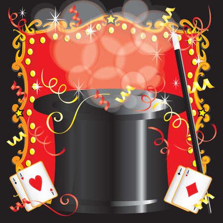 mago: Magia mago s cumpleaños acto invitación de la fiesta con la varita mágica, cartas y carpa roja