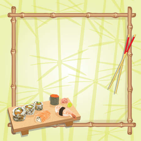 Japanese inspired sushi and sake party with an assortment of sushi on a wood serving board, chop sticks and a bamboo frame with a subtle background of lucky bamboo   Vector
