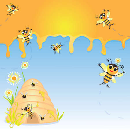 cute bumble bee party invitation with dripping honey, bee hive and adorable bees that are so happy to invite you to the party  Great for a baby shower, summer party or any aged birthday party Stock Vector - 13387669