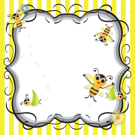 Cute bee baby shower party invitation Vector