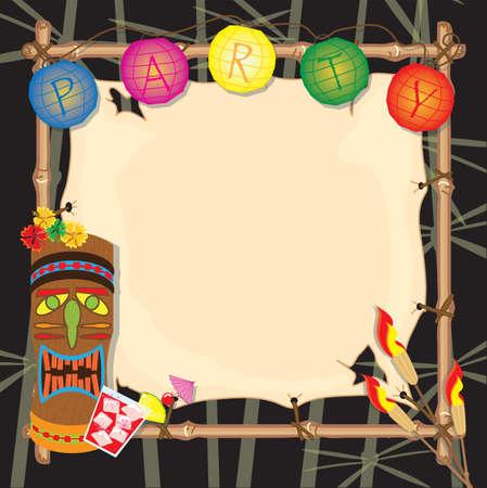열대 복고풍 티 키 또는 루아 파티 초대장