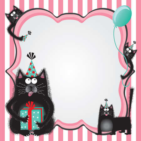 Funky and fuzzy kitty cats wearing party hats and holding gifts welcome you to a birthday party with copy space. Vector