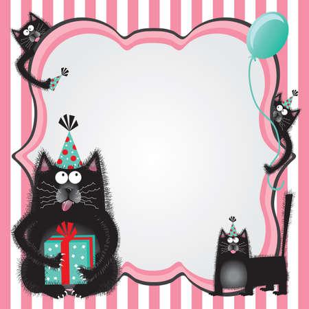 gorros de fiesta: Gatitos Funky y difusa que usan sombreros de fiesta y los regalos que sostienen la bienvenida a una fiesta de cumplea�os con copia espacio.