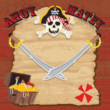 해적 파티 초대장. 오래 착용 된 종이와 해적 해골, 보물 상자와 칼 소박한 레드 판자 배경입니다. 일러스트