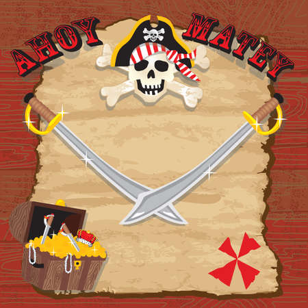Pirate party invitation. Rustic red plank background with old worn paper and pirate skull, treasure chest and swords.