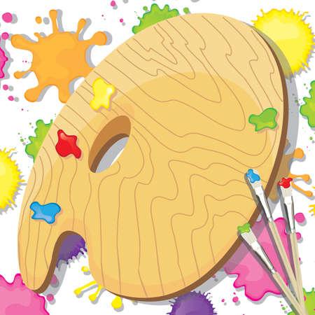 パレット、ペイント ブラシと塗料あなたのコピーのための部屋のスプラット アート絵画パーティー