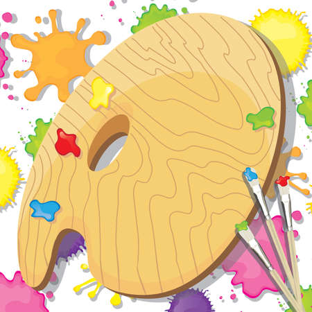 Art Painting party with palatte, paint brushes and splats of paint with room for your copy Vector
