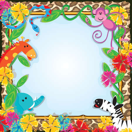 bamboo snake: Jungle Zoo Party Invitation Bright and colorful jungle animals welcome you to a party  Illustration