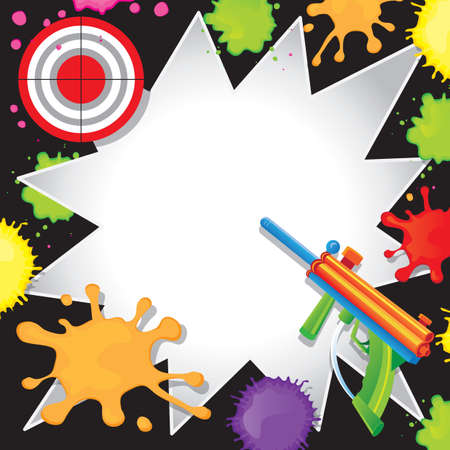Super fun Paintball Birthday Invitation with colorful paintball gun shooting at a bullseye target with cool comic book starbursts paint splatters Vector