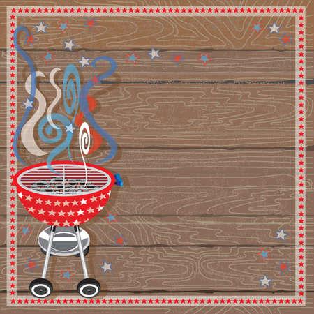 Rustic Patriotic BBQ Party Invitation
