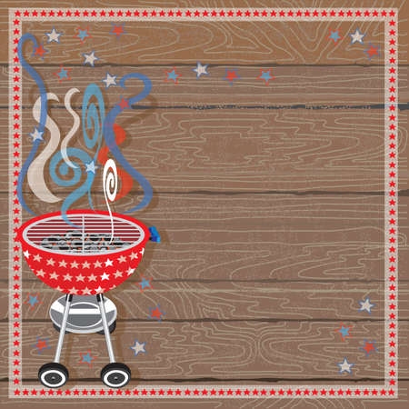 Rustic Patriotic BBQ Party Invitation Vector