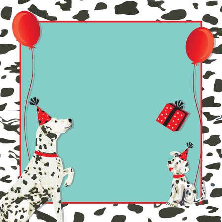 gorros de fiesta: D�lmata invitaci�n perro y cachorro de perro con sombreros de fiesta, regalos y globos rojos sobre un d�lmata manchada de negro y fondo blanco. Vectores