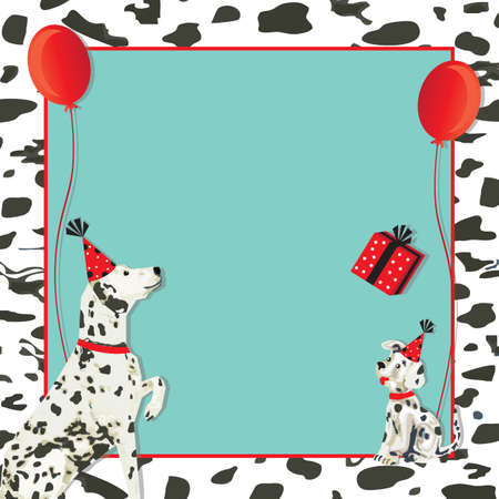 festive: Dalmatian dog invitation and puppy dog with party hats, gift and red balloons on a spotted dalmation black and white background. Illustration