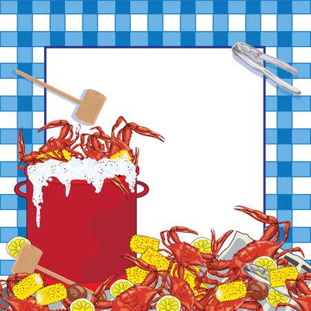 ebullition: Super fun f�te du crabe bouillir invitation. Pot bouillonnant rouge de crabe avec du ma�s en �pi, les pommes de terre et les citrons, le maillet et le crabe ustensile s'asseoir sur un journal avec un fond bleu � carreaux � motifs nappe. Illustration