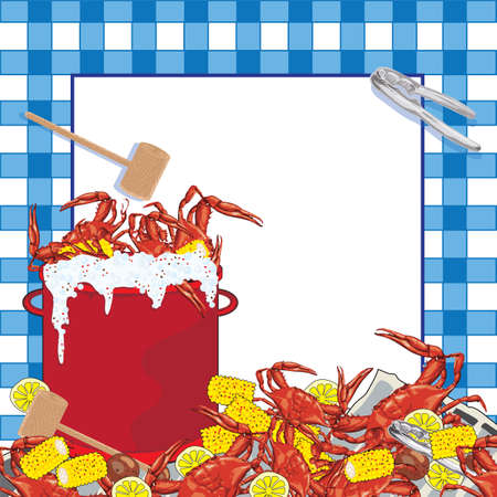 Super fun Crab Boil party invitation. Hot bubbling red pot of crab with corn on the cob, potatoes and lemons, mallet and crab utensil sit on a newspaper with a blue checkered tablecloth patterned background. Illustration