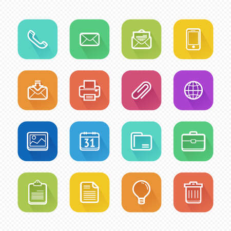 Office Elements Flat Vector Icons With Long Shadow