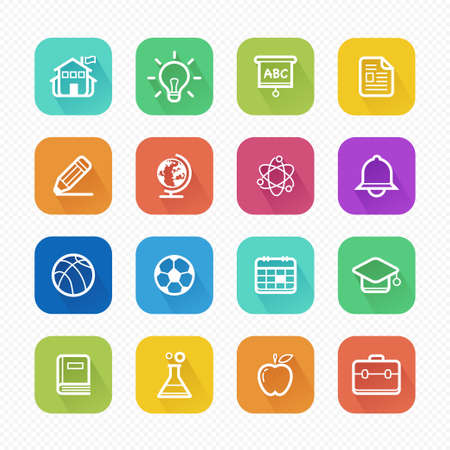 Education Flat Vector Icons With Long Shadow
