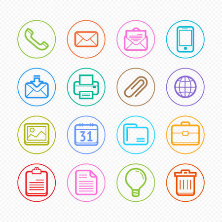 Office elements Color symbol line icon set on white background Stock Vector - 23015214