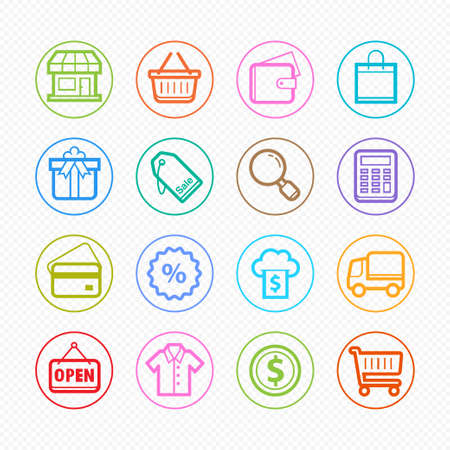 Shopping Color line symbol and icon on white background Vector
