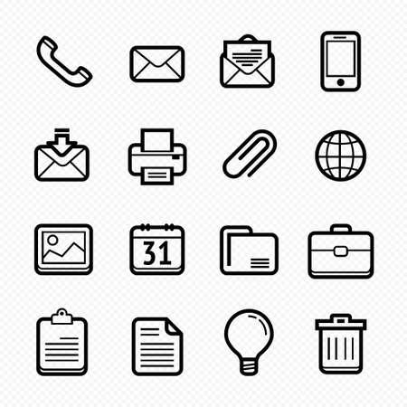 Office elements symbol line icon set on white background