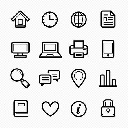 Office elements symbol line icon set on white background Stock Vector - 23015224