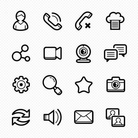 Social Media line symbol Icons with White Background Vector