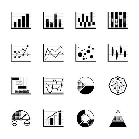 Charts and Graphs icons set on white background