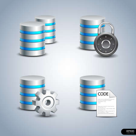 network server: Database Icon set 1  Illustration