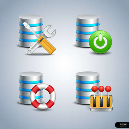 Database Icon set 6 Vector