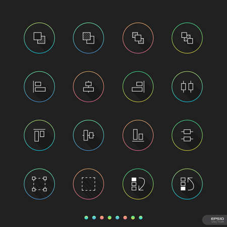 Universal thin icon with circle for Web   Mobile   24 UI Elements 3 Stock Vector - 23907931