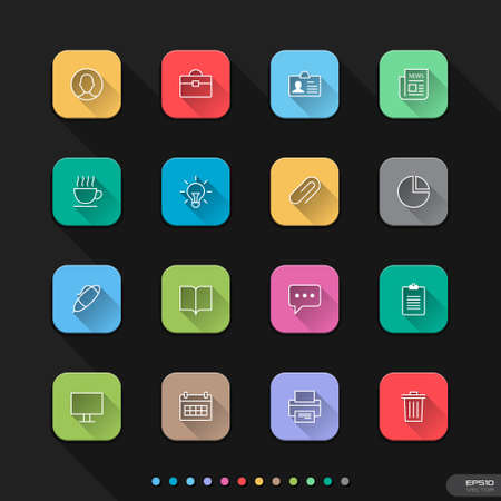 Flat icons for Web   Mobile   12 Office