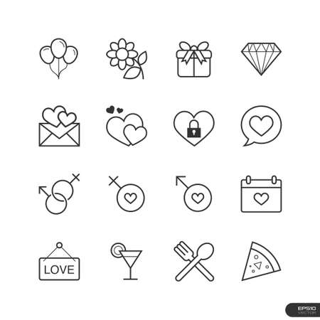 Dating   celebrate Icons set Vector