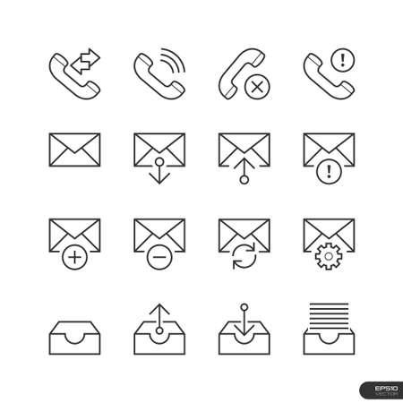 Web   Mobile interface Icons set Illustration