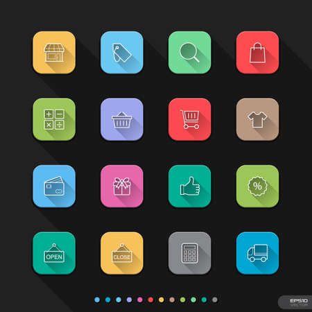 Flat icons for Web   Mobile   6 shopping Vector