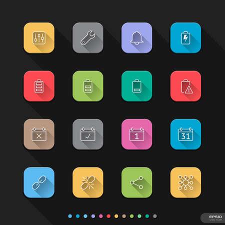 알림: 웹 모바일 5 모바일 알림 플랫 아이콘