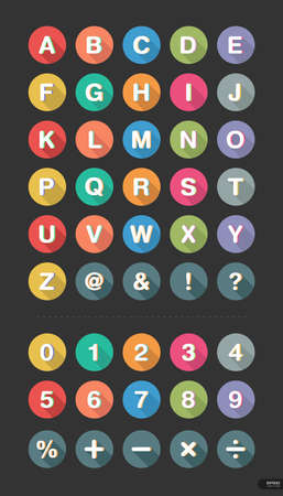 Type font and number Icon set 1 Vector