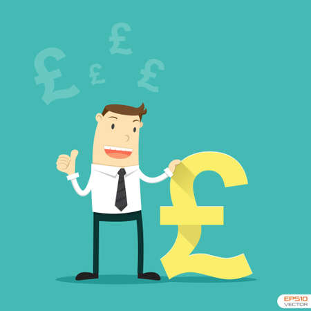 Businessman with British pound sign Vector