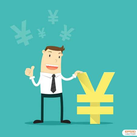 yen sign: Businessman with Japanese Yen sign