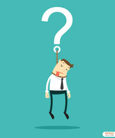 Businessman hanging on question Vector