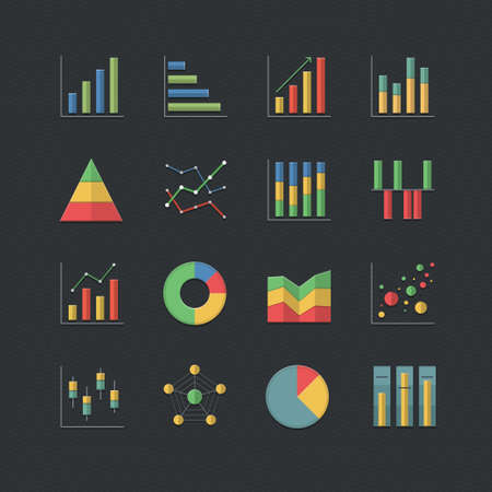 Chart and Graph icons set with Flat color style Vector
