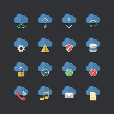 locks: Cloud Computer icons set with Flat color style Illustration