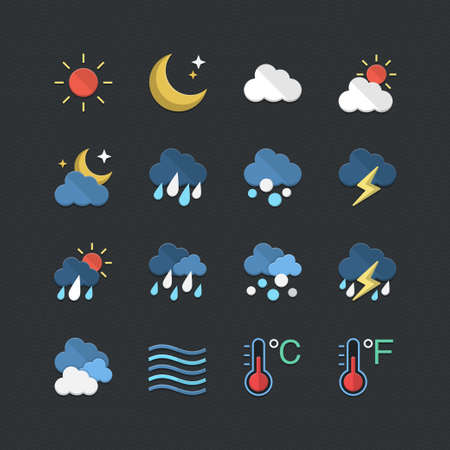 Weather icons set with Flat color style Vector