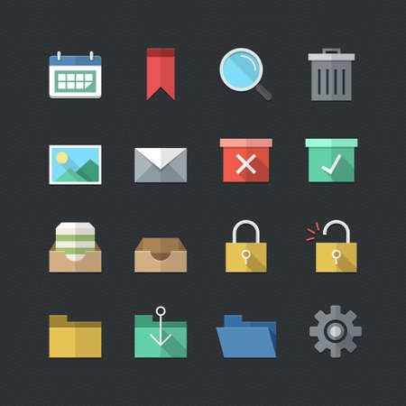 Business & Office icons set with Flat color style Vector