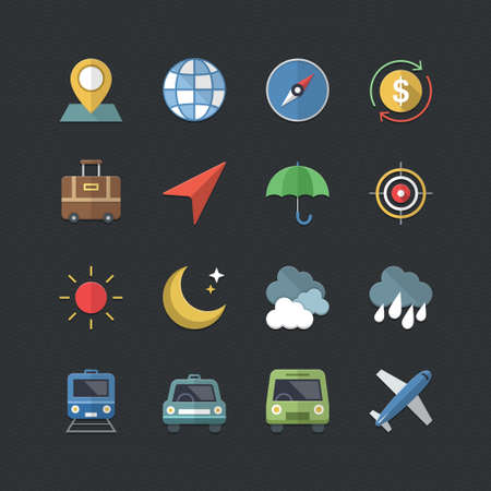 Travel & Business icons set with Flat color style Vector