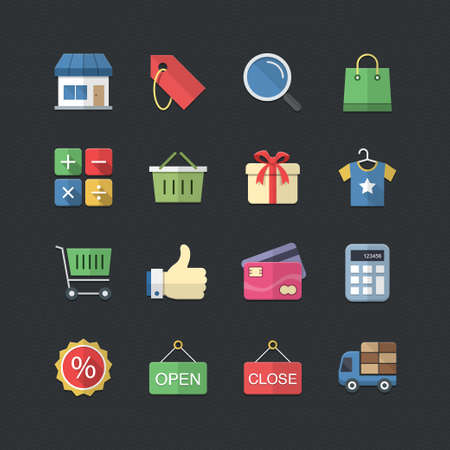 Shopping & Market icons set with Flat color style Vector