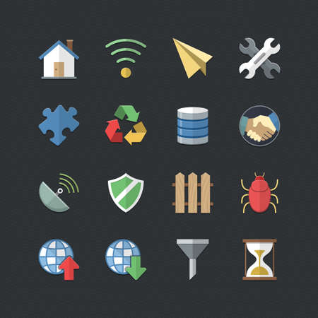 sattelite: Internet & Communication icons set with Flat color style