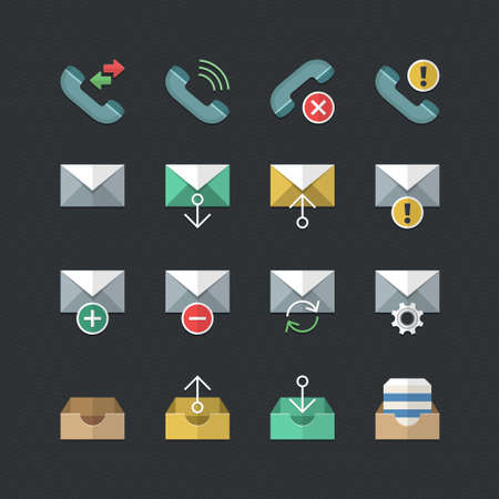 Web & Mobile interface icons set with Flat color style