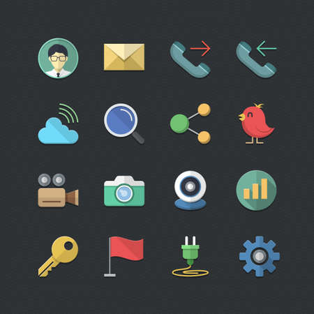 web cam: Office & Business icons set with Flat color style Illustration