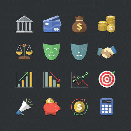 Financial investment icons set with Flat color style Vector